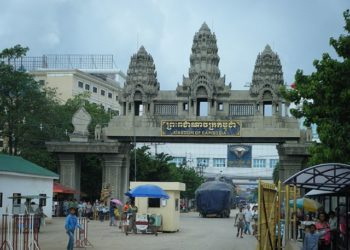 Le poste frontière de Poipet, point de passage entre la Thaïlande et le Cambodge