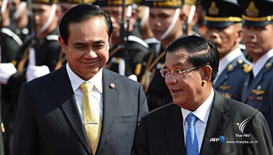 À gauche le Premier Ministre thaïlandais Prayut Chan-ocha, à droite le Premier Ministre cambodgien Hun Sen
