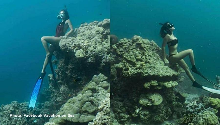 3 touristes ont été condamnés à 1500฿ d'amende chacun pour s'être assis sur des récifs coralliens sous-marins