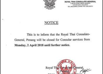 Penang : fermeture du Consulat Royal de Thaïlande la semaine prochaine
