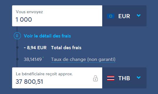 En utilisant TransferWise pour vos virements d'argent depuis la France vers la Thaïlande, vous paierez moins de 1 % de frais