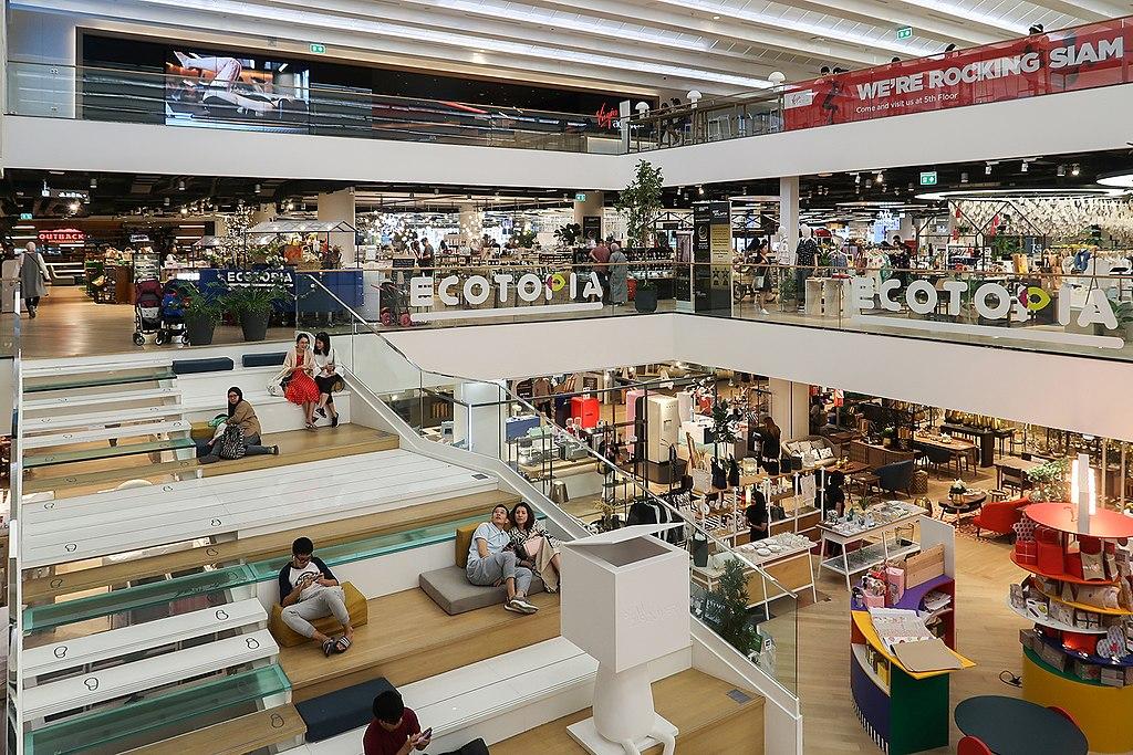 L'atrium du centre commercial Siam Discovery depuis le 3e étage