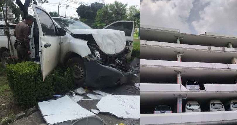 Le pick-up endommagé après sa chute du sixième étage d'un parking