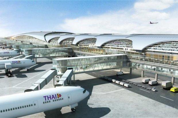 La construction du Terminal 2 de l'aéroport de Bangkok-Suvarnabhumi a été gelée, alors que le schéma directeur initial n'aurait pas été suivi