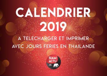 Calendrier 2019 à télécharger et imprimer, avec jours fériés en Thaïlande