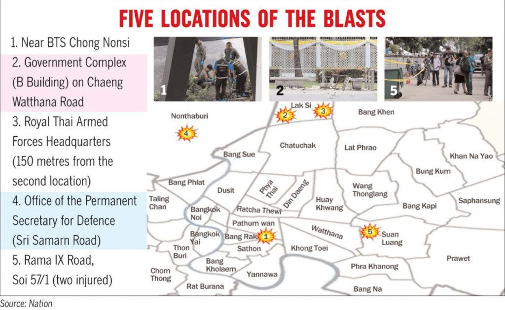 Explosions à Bangkok : des dommages limités, mais un coup dur pour l'image du gouvernement