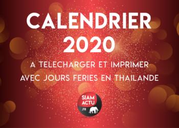 Calendrier 2020 avec jours fériés en Thaïlande, à télécharger et imprimer