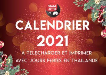 Calendrier 2021 avec jours fériés en Thaïlande, à télécharger et imprimer