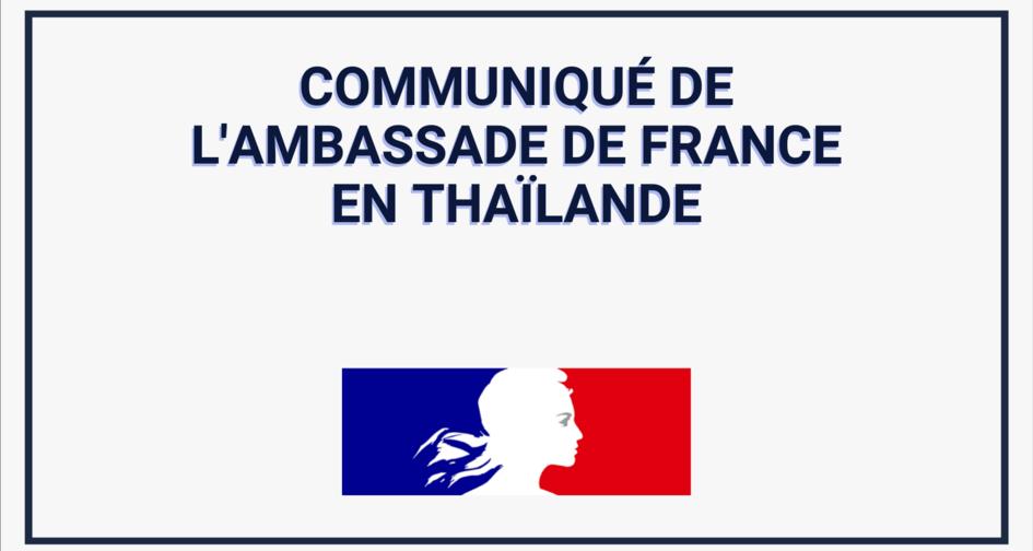 Communiqué de l'ambassade de France au sujet de la vaccination de la communauté française en Thaïlande